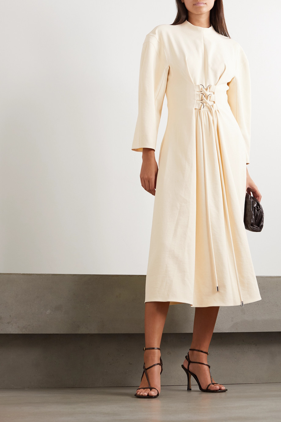 Tibi Chalky Drape lace-up grain de poudre midi dress