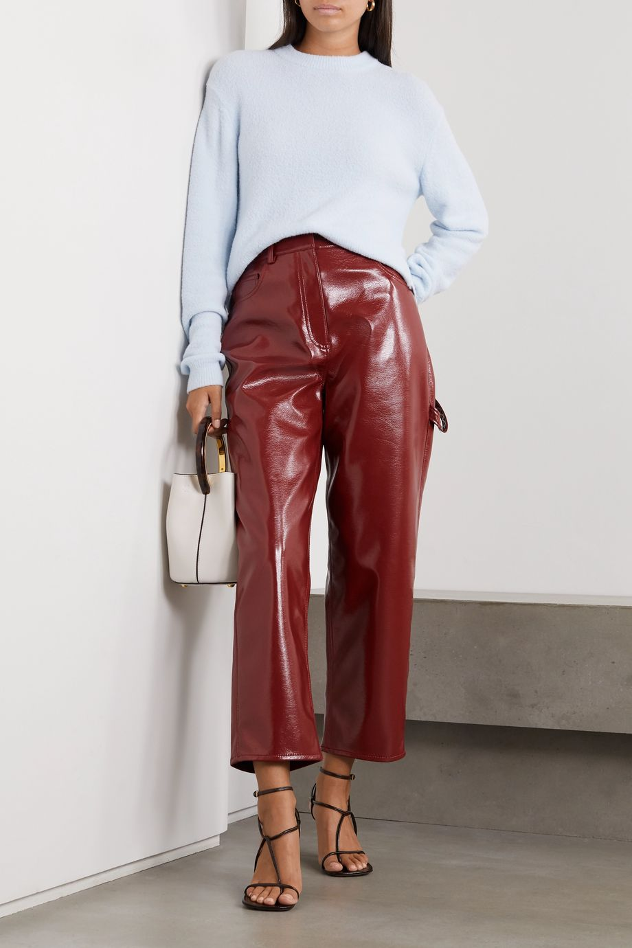 Tibi Faux patent-leather wide-leg pants