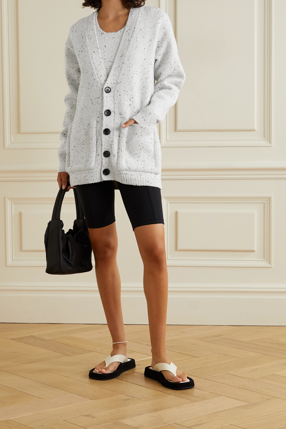 Tibi Faux leather-trimmed wool-blend cardigan