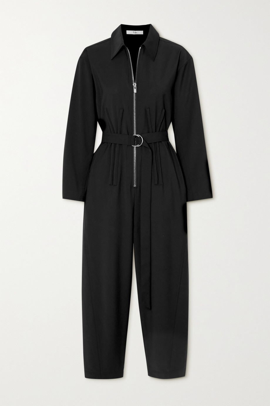 Tibi Cropped belted crepe jumpsuit