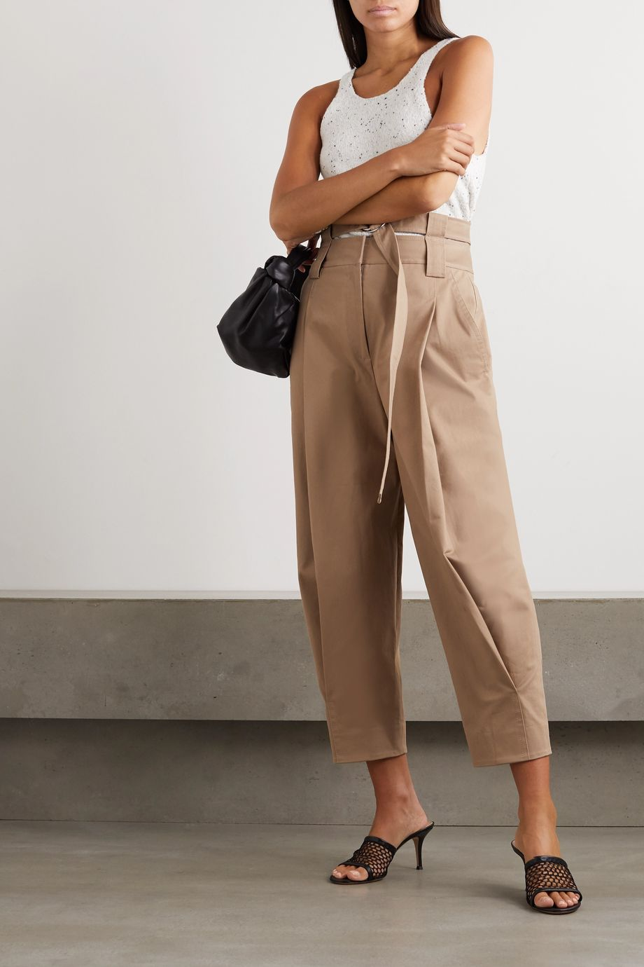 Tibi Myriam belted pleated cotton-blend twill tapered pants