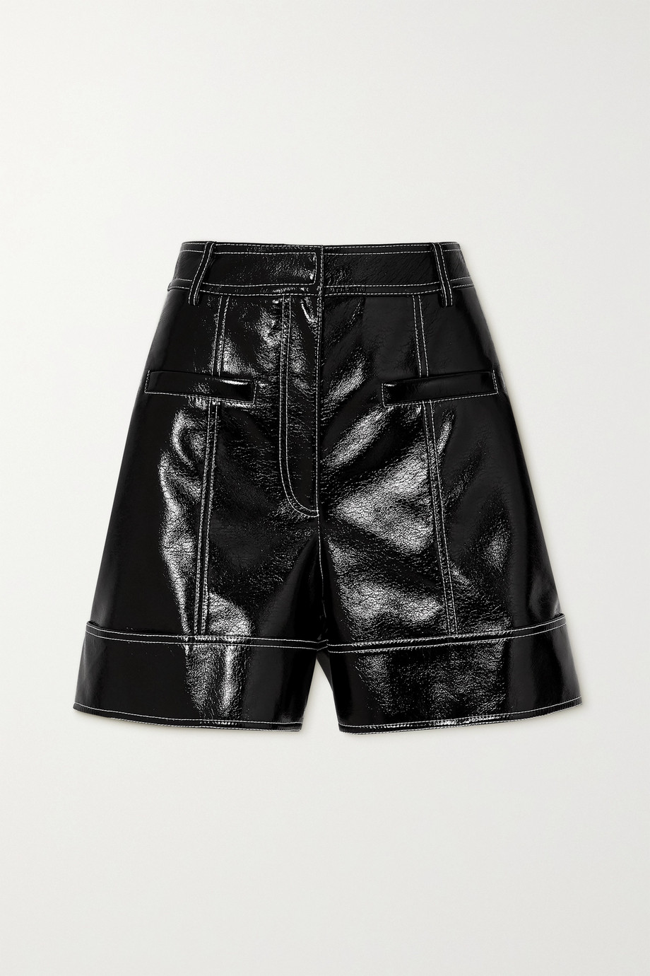 Tibi Topstitched faux patent-leather shorts