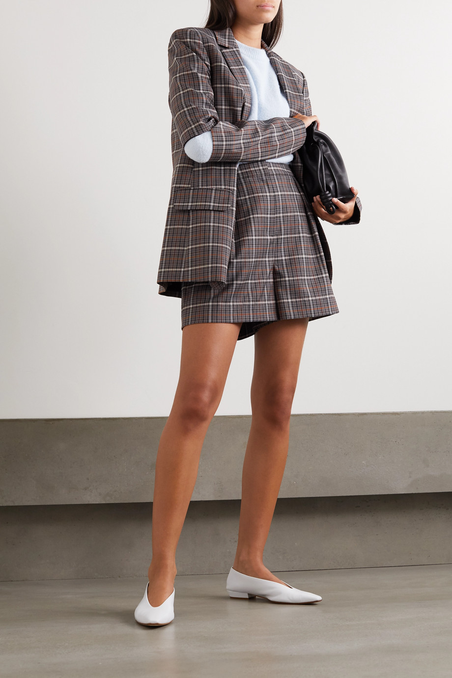 Tibi Gabe pleated checked woven shorts