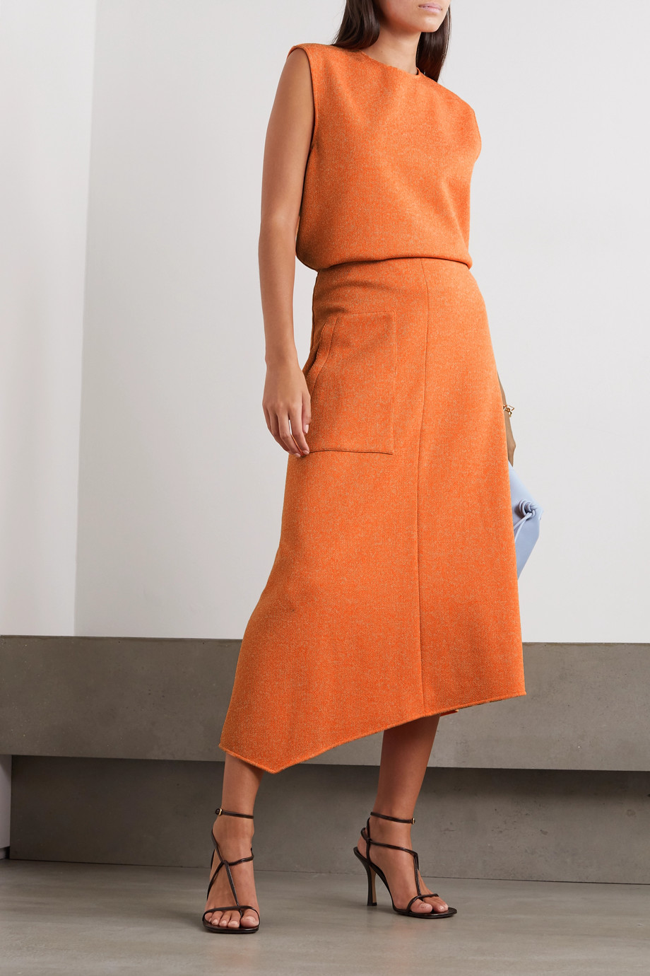 Tibi Asymmetric mélange ribbed-knit midi skirt