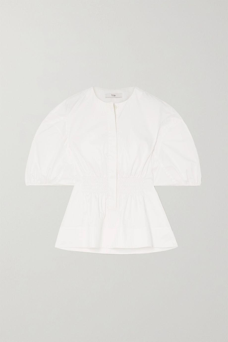Tibi Smocked organic cotton-poplin blouse