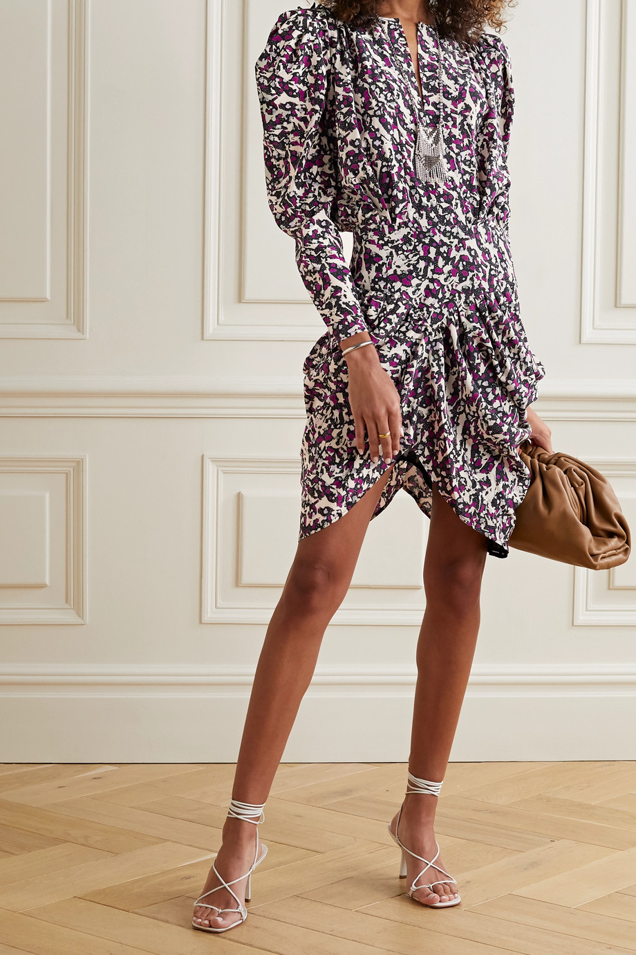 Isabel Marant Margaretia ruched printed silk-blend crepe de chine mini dress