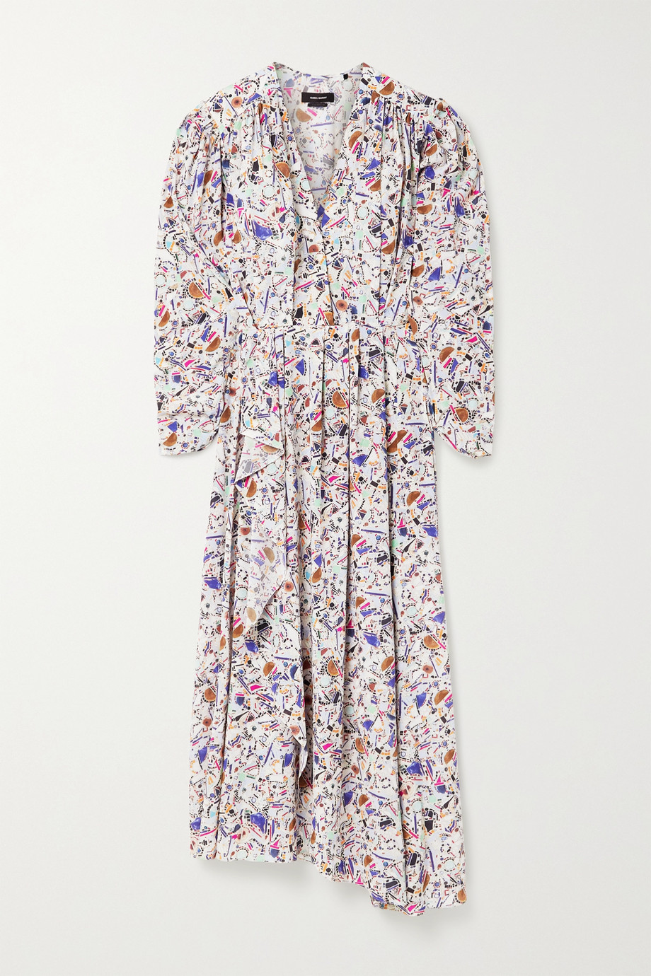 Isabel Marant Blainea pleated printed silk-blend crepe de chine maxi dress