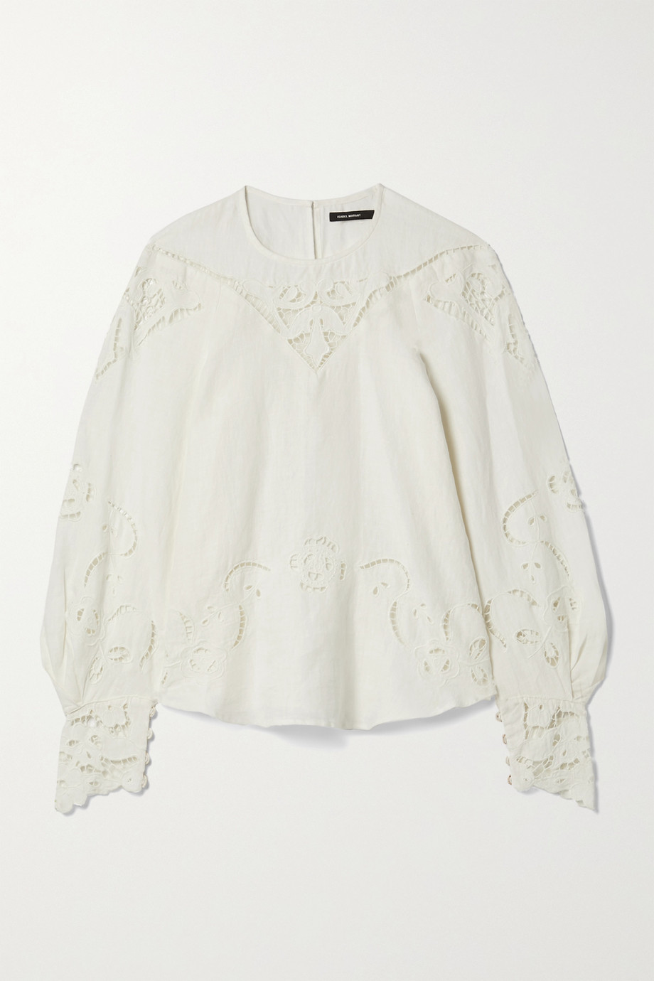 Isabel Marant Emmett guipure lace-trimmed embroidered linen blouse