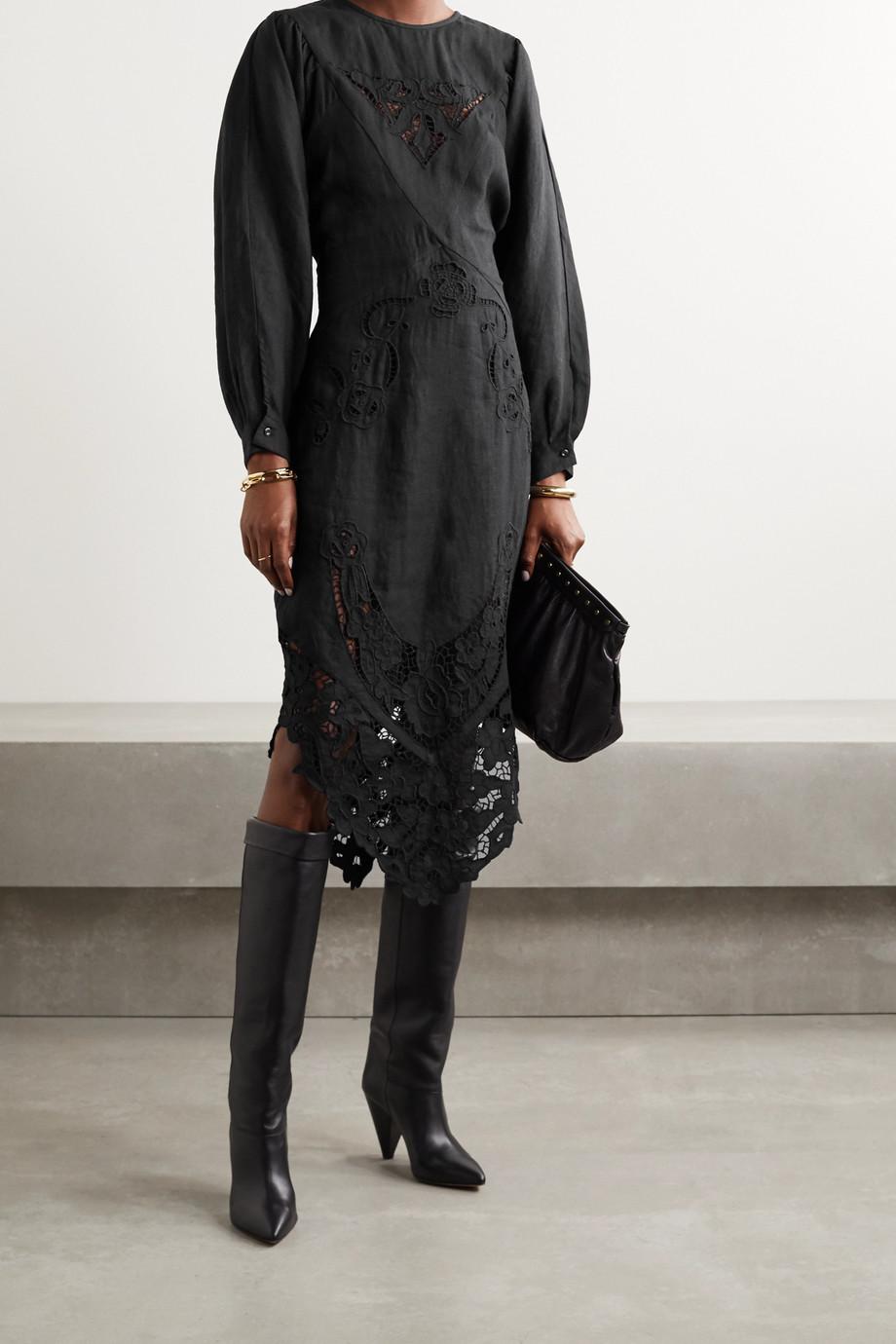 Isabel Marant Edrea broderie anglaise-trimmed linen midi dress