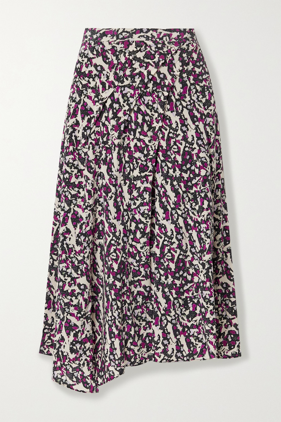 Isabel Marant Cacia pleated printed silk-blend crepe de chine midi skirt