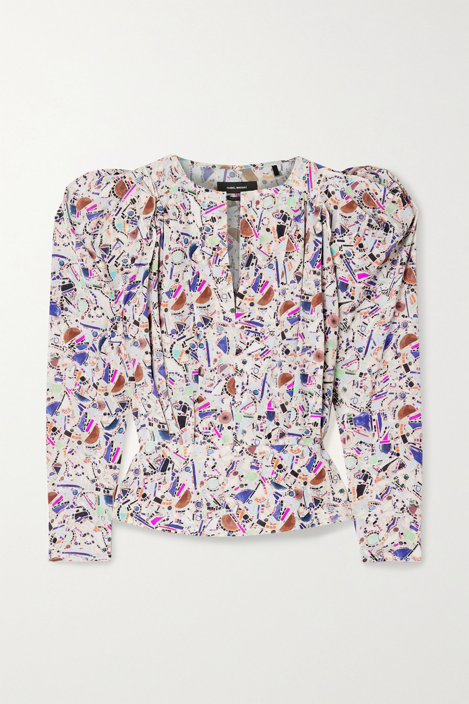 Isabel Marant Zarga pleated printed silk-blend crepe de chine blouse