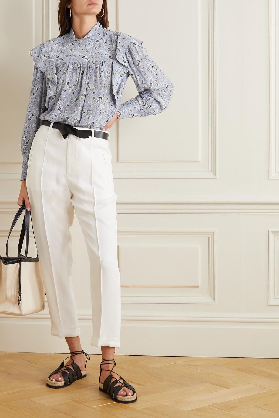 Isabel Marant Barida ruffled paisley-print silk crepe de chine blouse