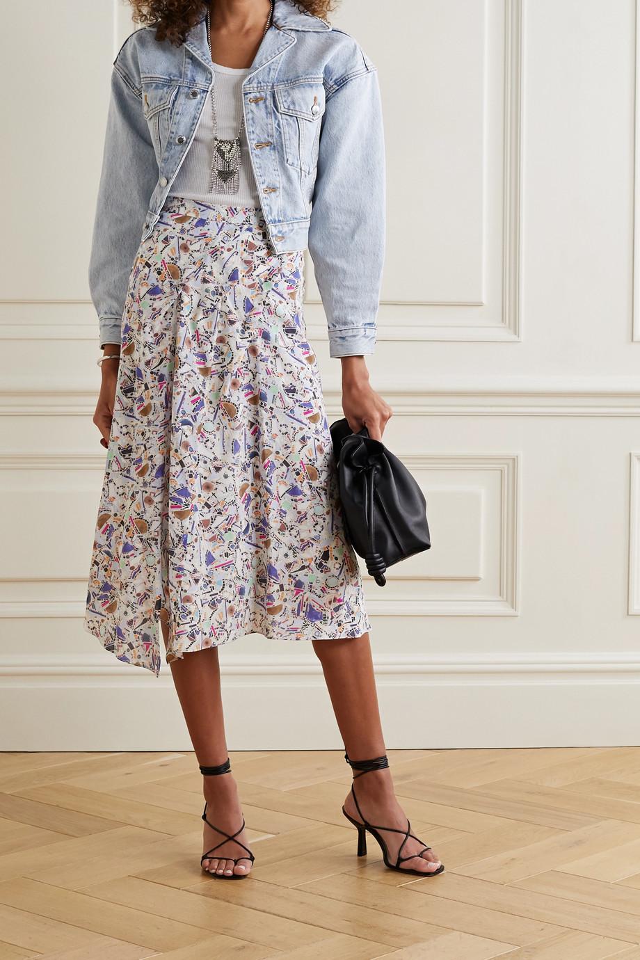 Isabel Marant Cacia pleated printed silk-blend crepe de chine midi skirt
