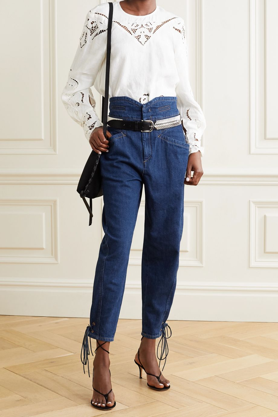 Isabel Marant Nubaia suede-trimmed high-rise tapered jeans