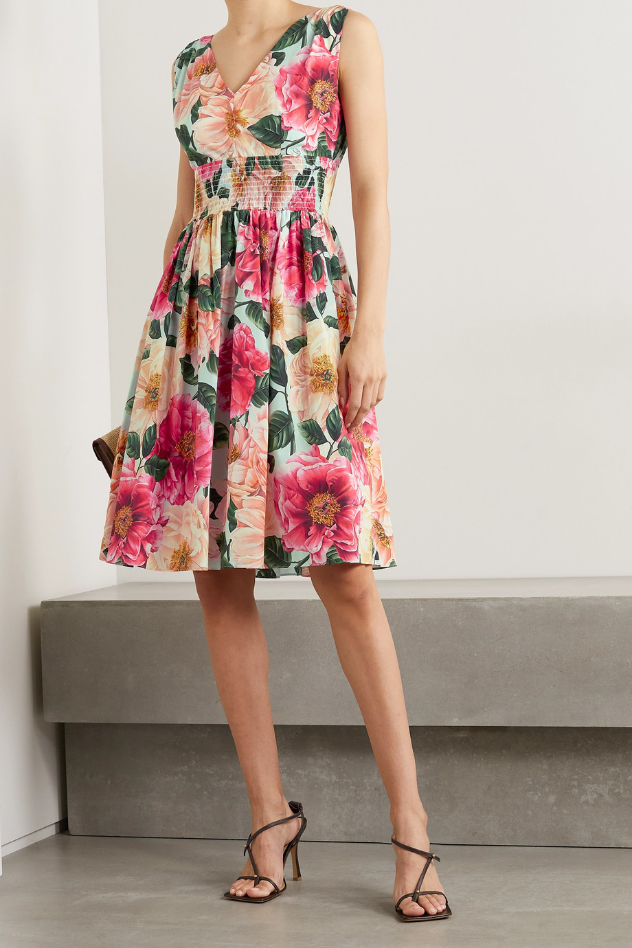 Dolce & Gabbana Shirred floral-print cotton-poplin dress