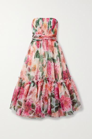 Dolce & Gabbana Dresses STRAPLESS RUFFLED GATHERED FLORAL-PRINT SILK-ORGANZA MIDI DRESS