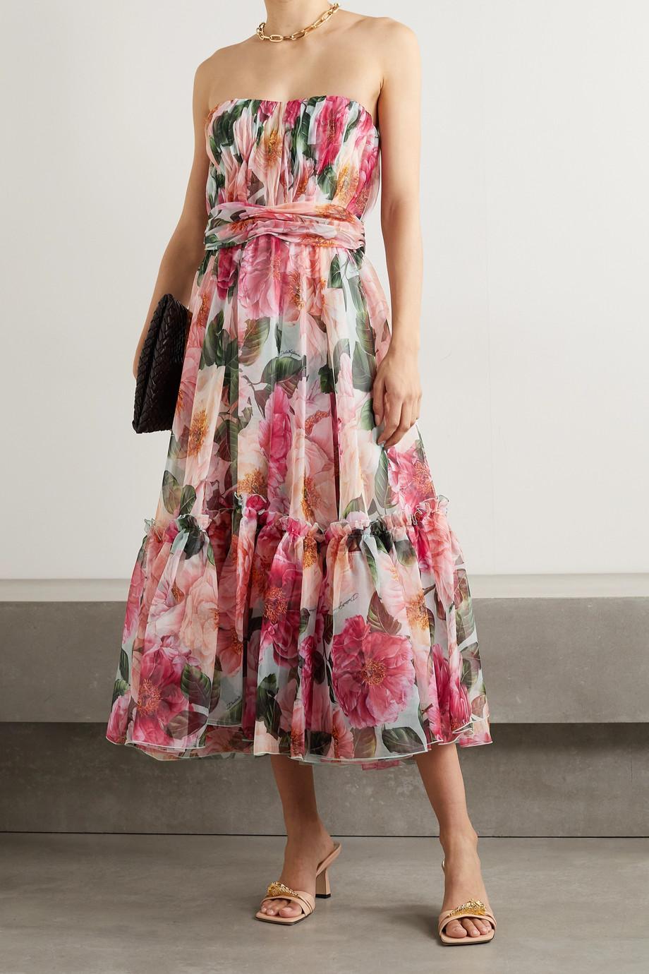 Dolce & Gabbana Robe midi bustier en organza de soie à imprimé fleuri, volants et fronces