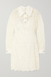 Dolce & Gabbana Crepe-trimmed corded lace mini dress