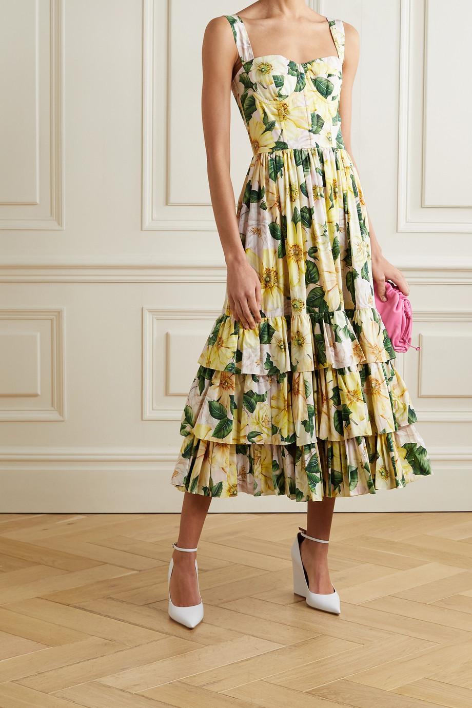 Dolce & Gabbana Robe midi en popeline de coton à imprimé fleuri et à volants