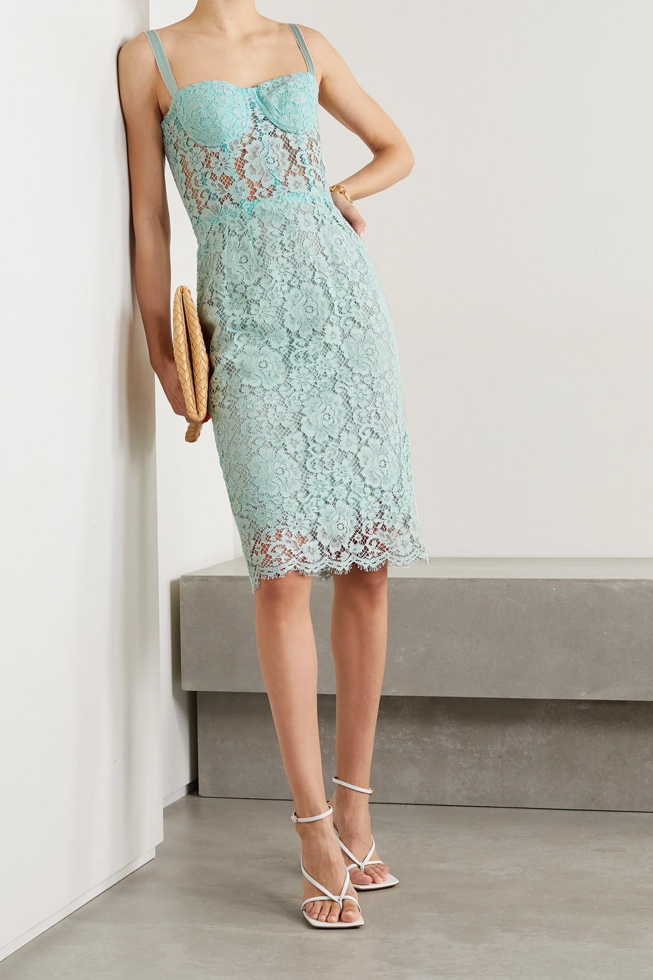 Dolce & Gabbana Robe midi en dentelle cordonnet de coton mélangé