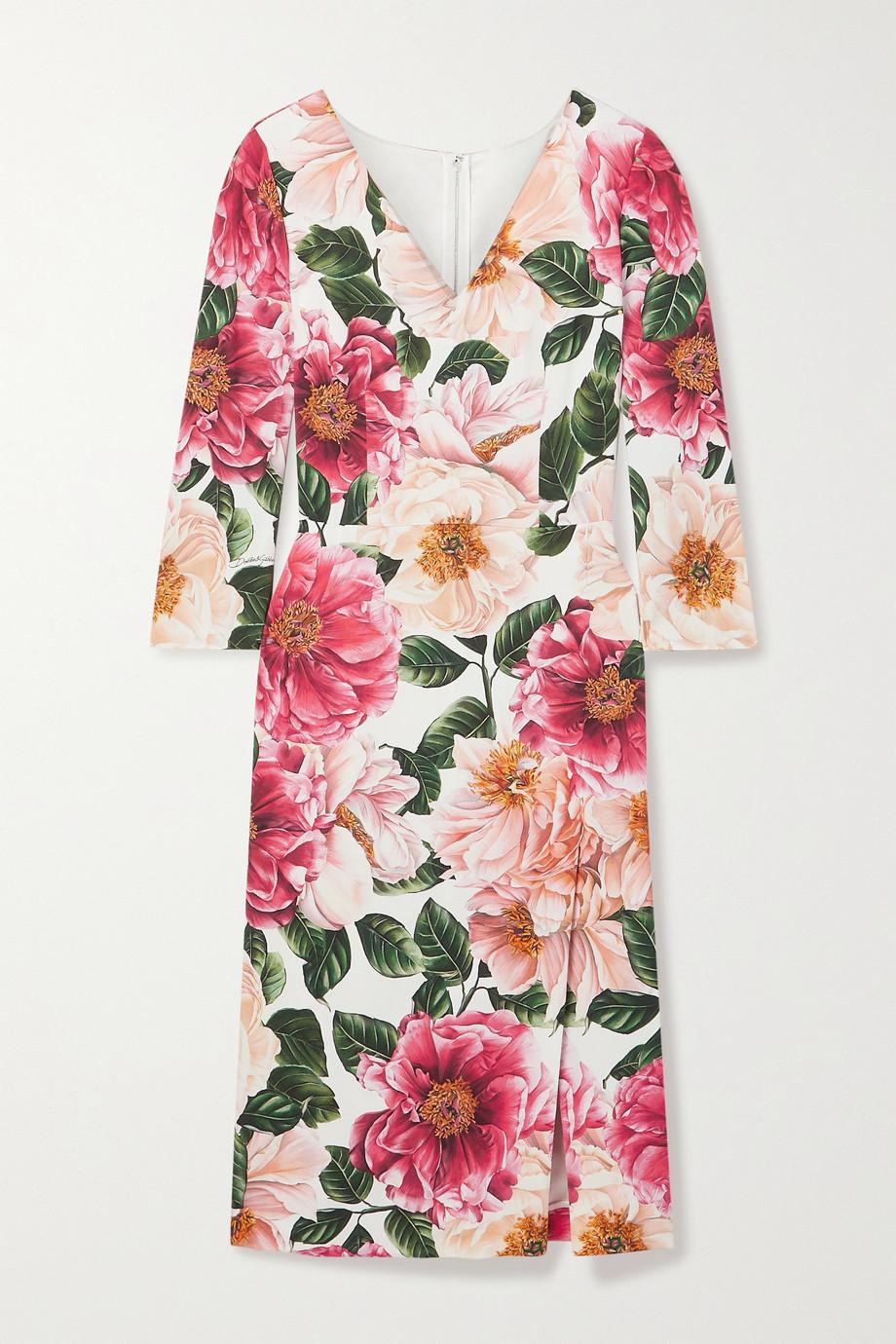 Dolce & Gabbana Robe midi en crêpe stretch à imprimé fleuri