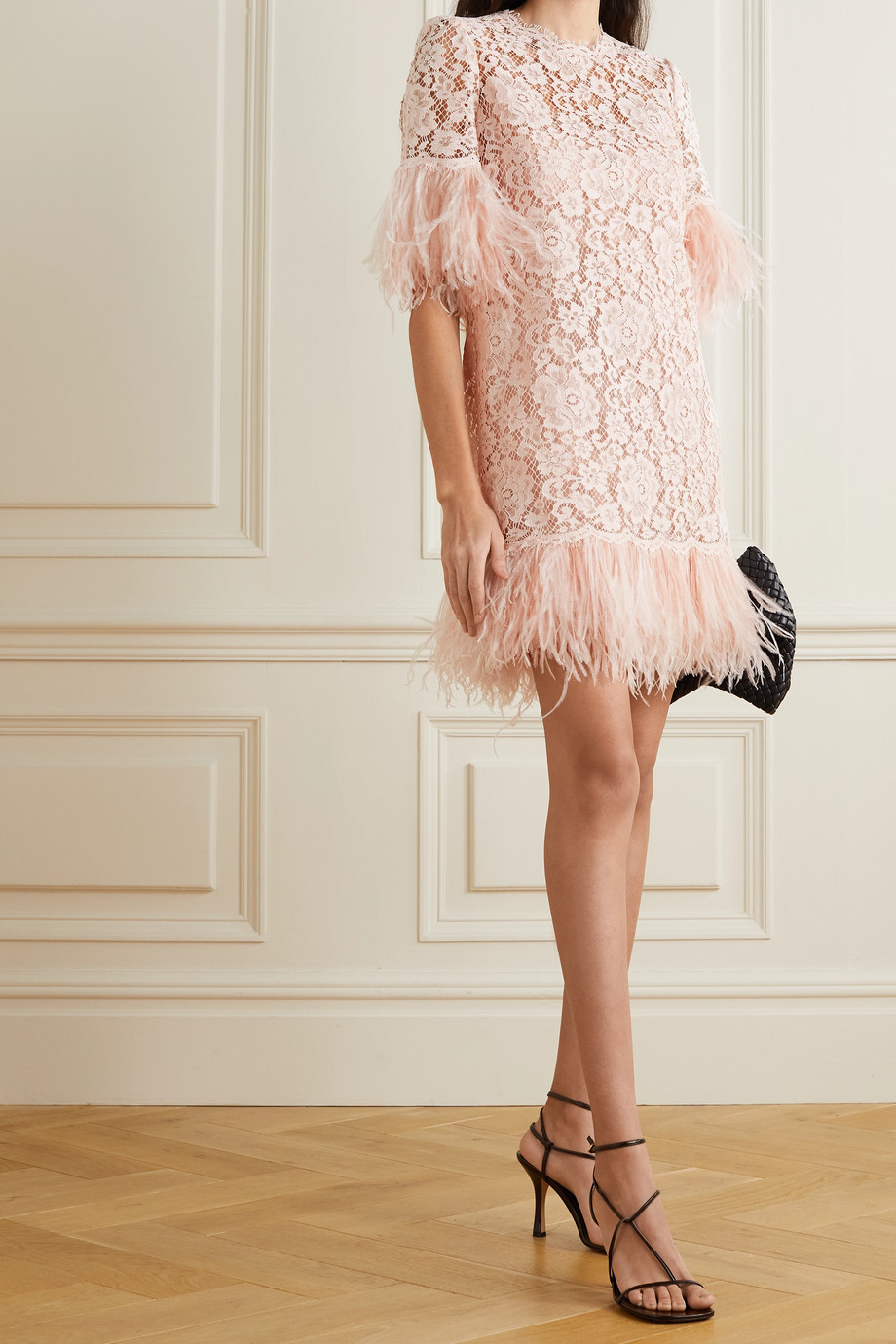 Dolce & Gabbana Feather-trimmed cotton-blend guipure lace mini dress