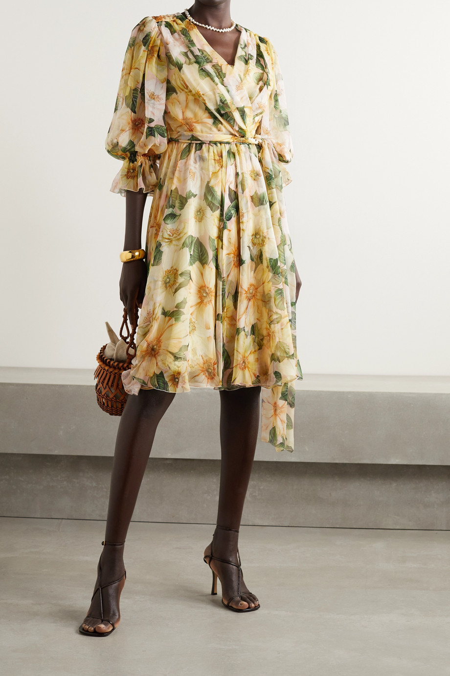 Dolce & Gabbana Wrap-effect belted floral-print silk-chiffon dress