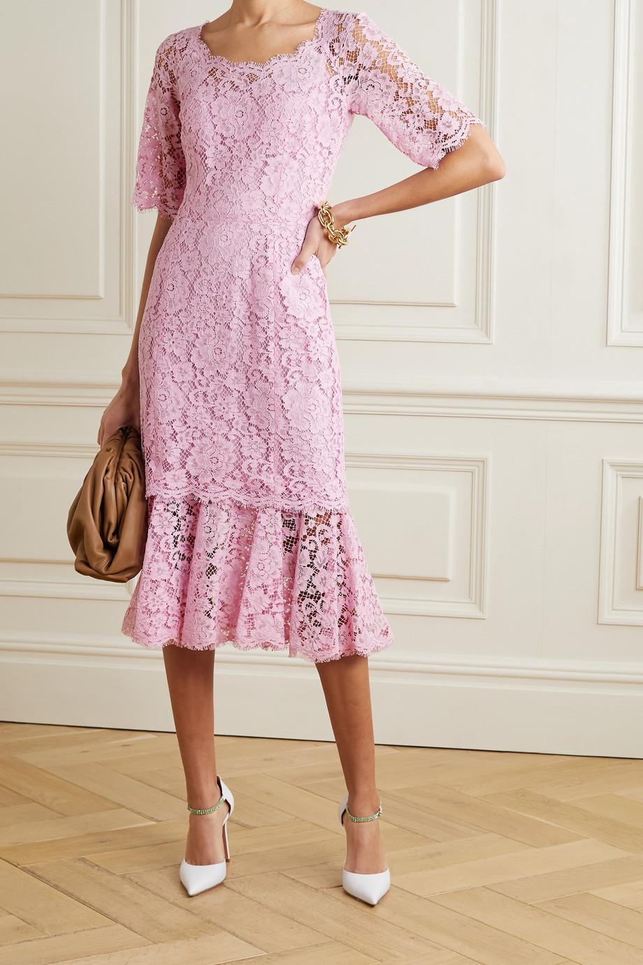 Dolce & Gabbana Robe midi en dentelle cordonnet à volants
