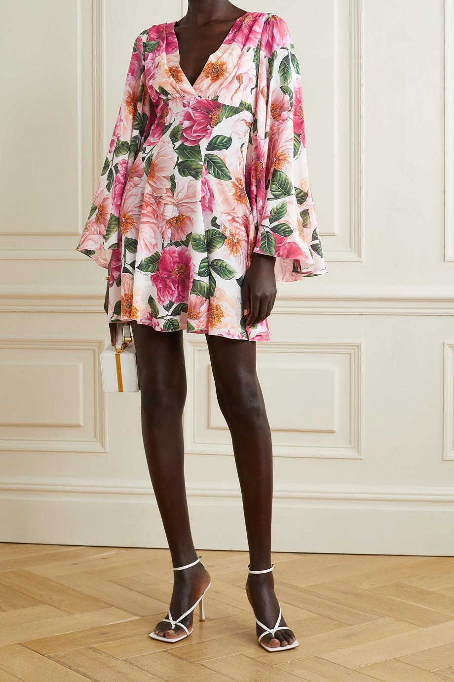 Dolce & Gabbana Floral-print silk crepe de chine mini dress