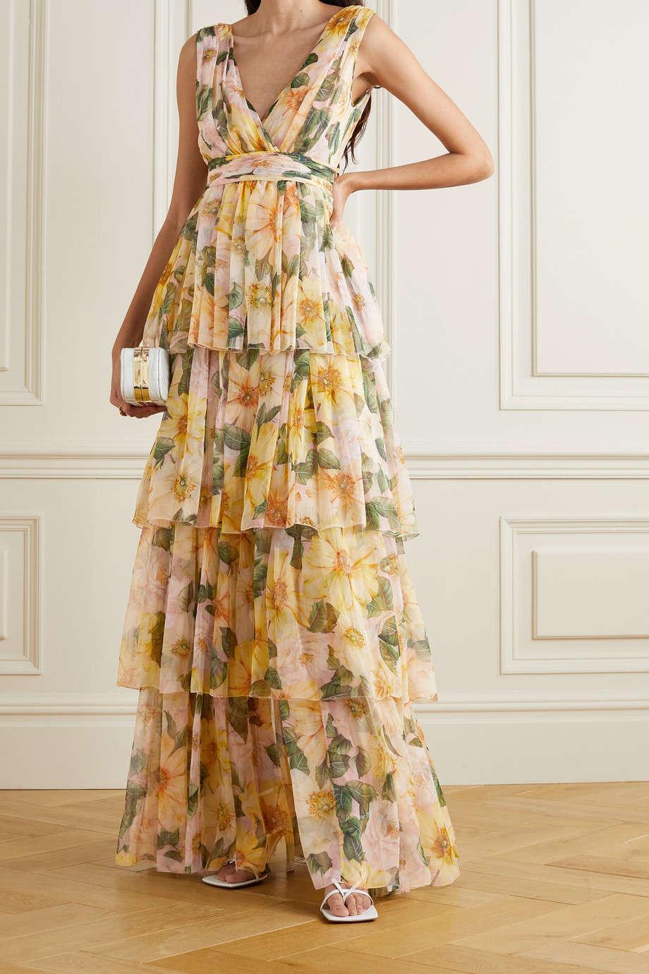 Dolce & Gabbana Tiered floral-print silk-chiffon maxi dress