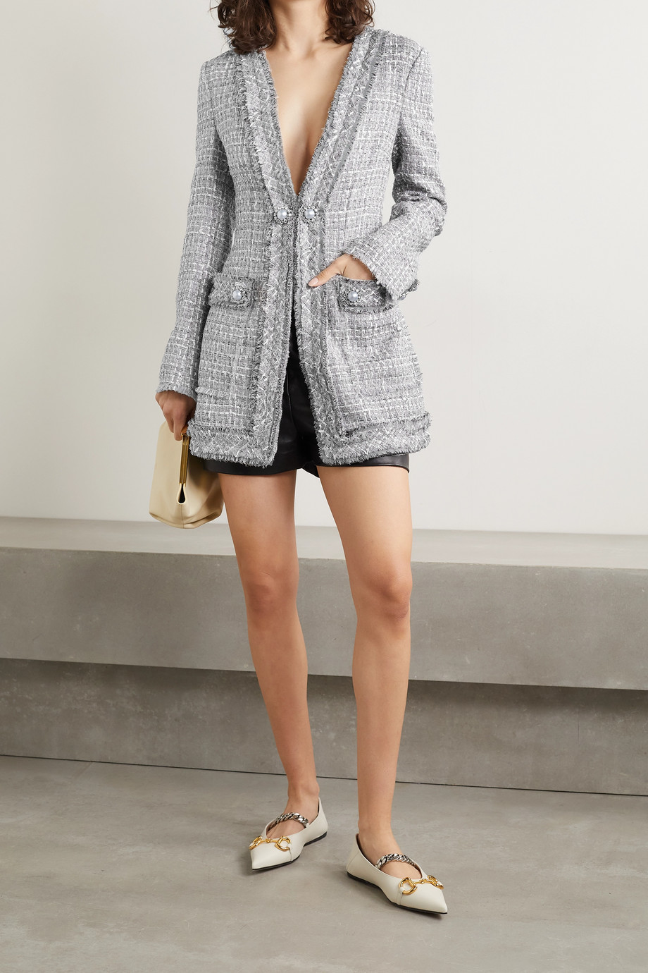 Dolce & Gabbana Veste en tweed métallisé à franges et à ornements