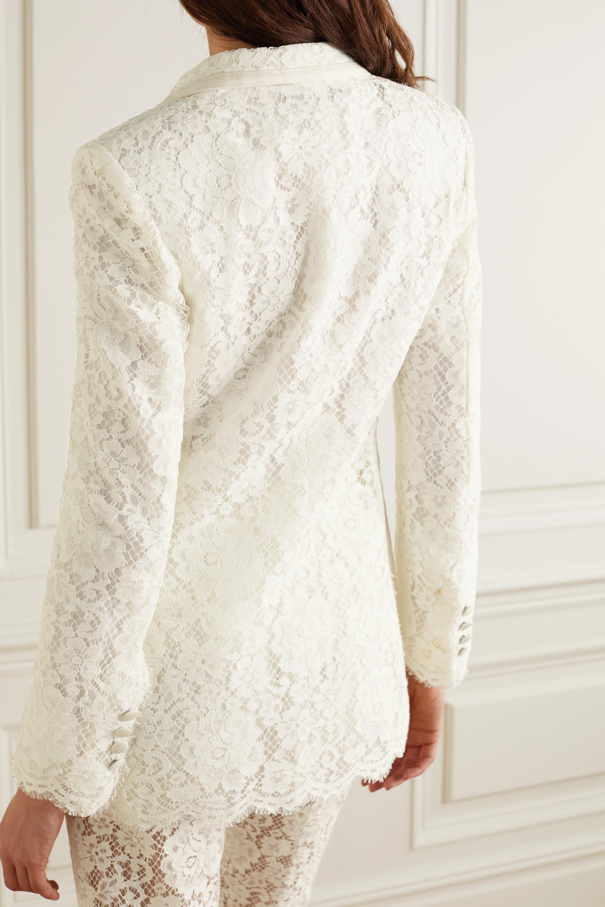 Dolce & Gabbana Satin-trimmed corded lace blazer