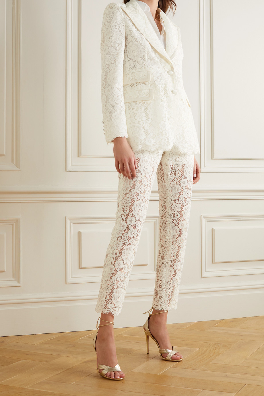 Dolce & Gabbana Satin-trimmed corded lace blazer