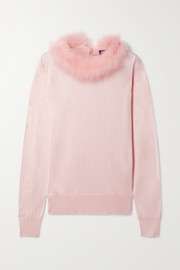 Dolce & Gabbana Feather-trimmed silk sweater