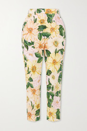 Dolce & Gabbana Cropped floral-print cotton-poplin straight-leg pants