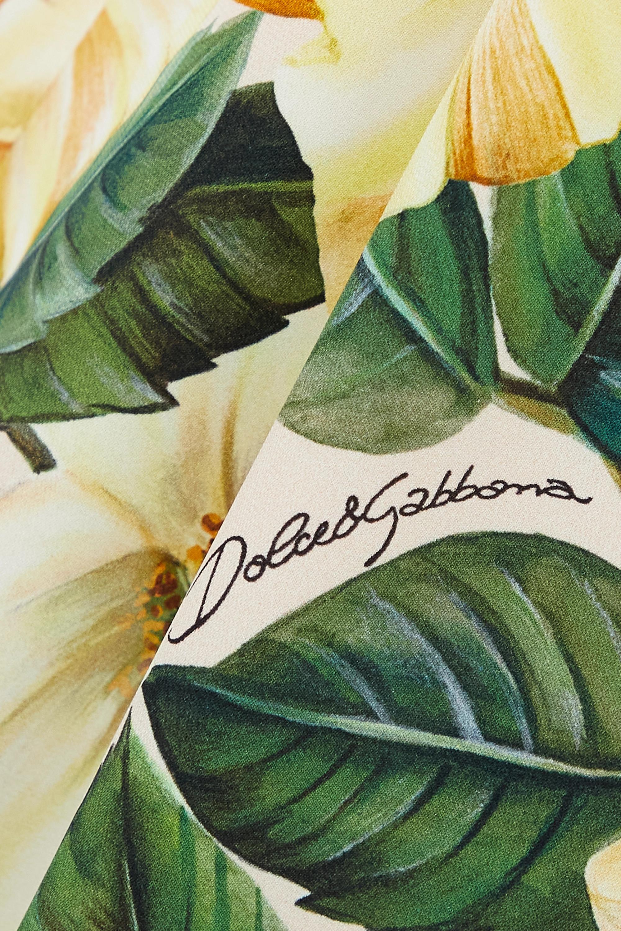 Dolce & Gabbana Hose mit weitem Bein aus einer Seidenmischung mit Blumenprint