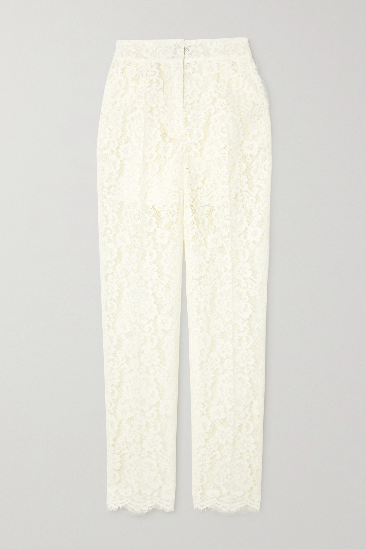 Dolce & Gabbana Cotton-blend corded lace slim-leg pants