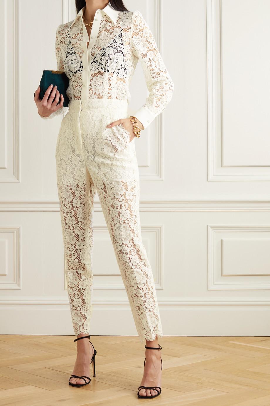 Dolce & Gabbana Hose mit schmalem Bein aus schnurgebundener Spitze aus einer Baumwollmischung
