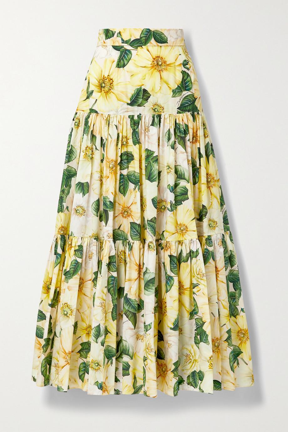 Dolce & Gabbana Maxirock aus Baumwollpopeline mit Blumenprint und Raffungen