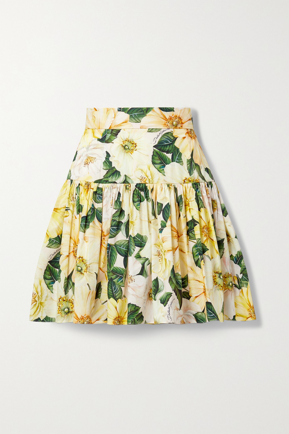 Dolce & Gabbana Pleated floral-print cotton-poplin mini skirt