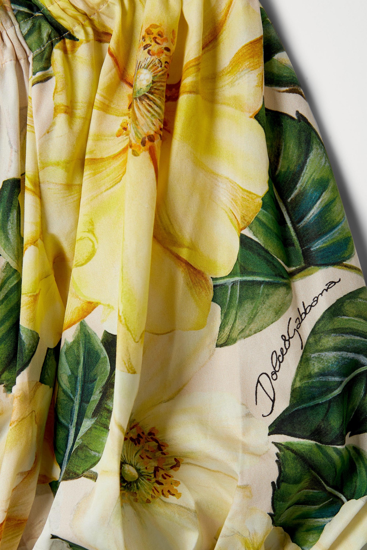 Dolce & Gabbana Off-the-shoulder ruffled floral-print cotton-poplin blouse
