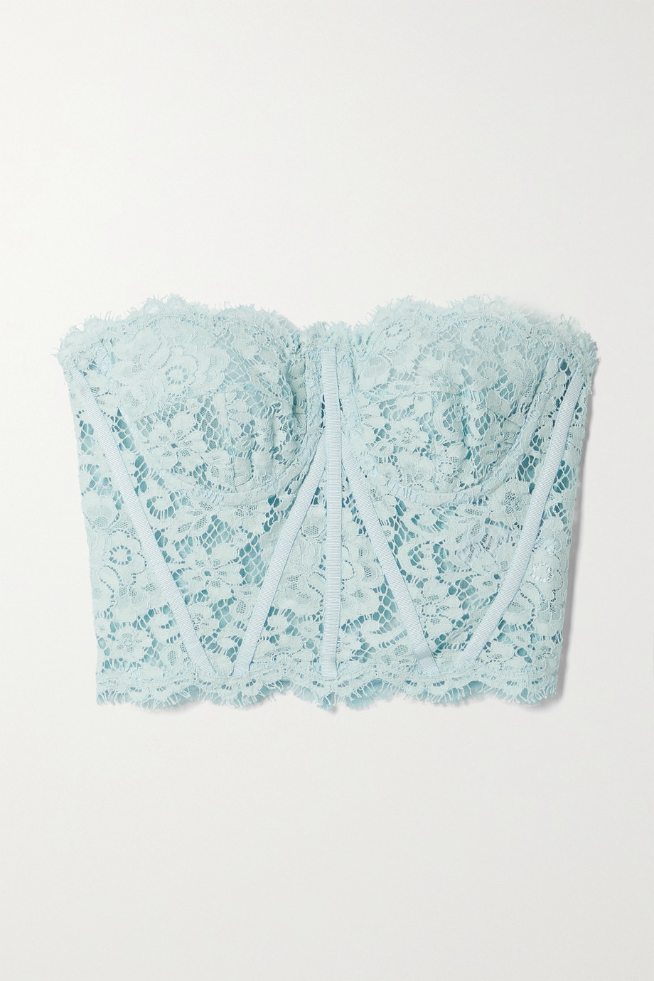 Dolce & Gabbana Strapless grosgrain-trimmed corded lace bustier top