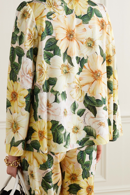 Dolce & Gabbana Oberteil aus einer Seidenmischung mit Blumenprint