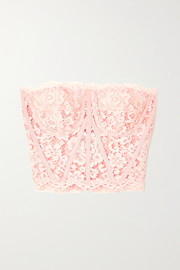 Dolce & Gabbana Grosgrain-trimmed cotton-blend corded lace bustier top