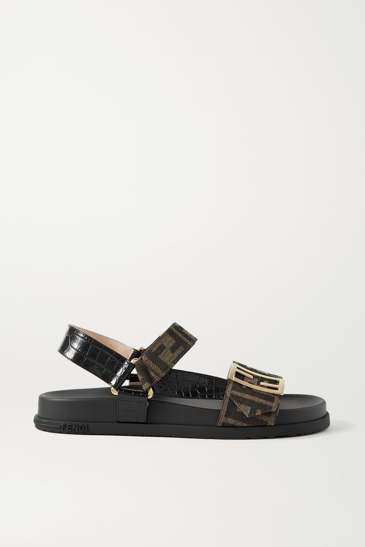 Fendi Logo-embellished canvas and croc-effect leather sandals