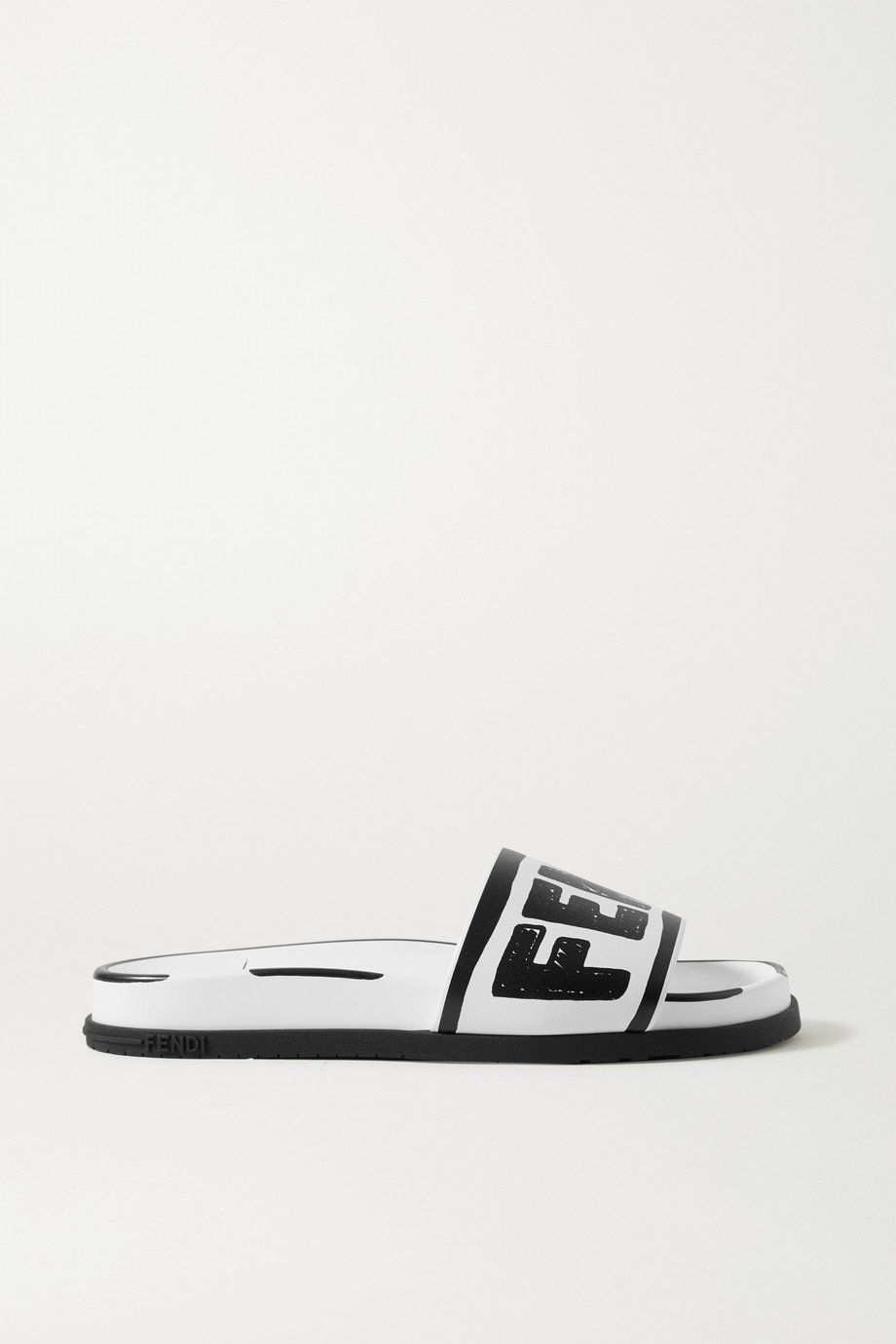 Fendi Logo-print leather slides