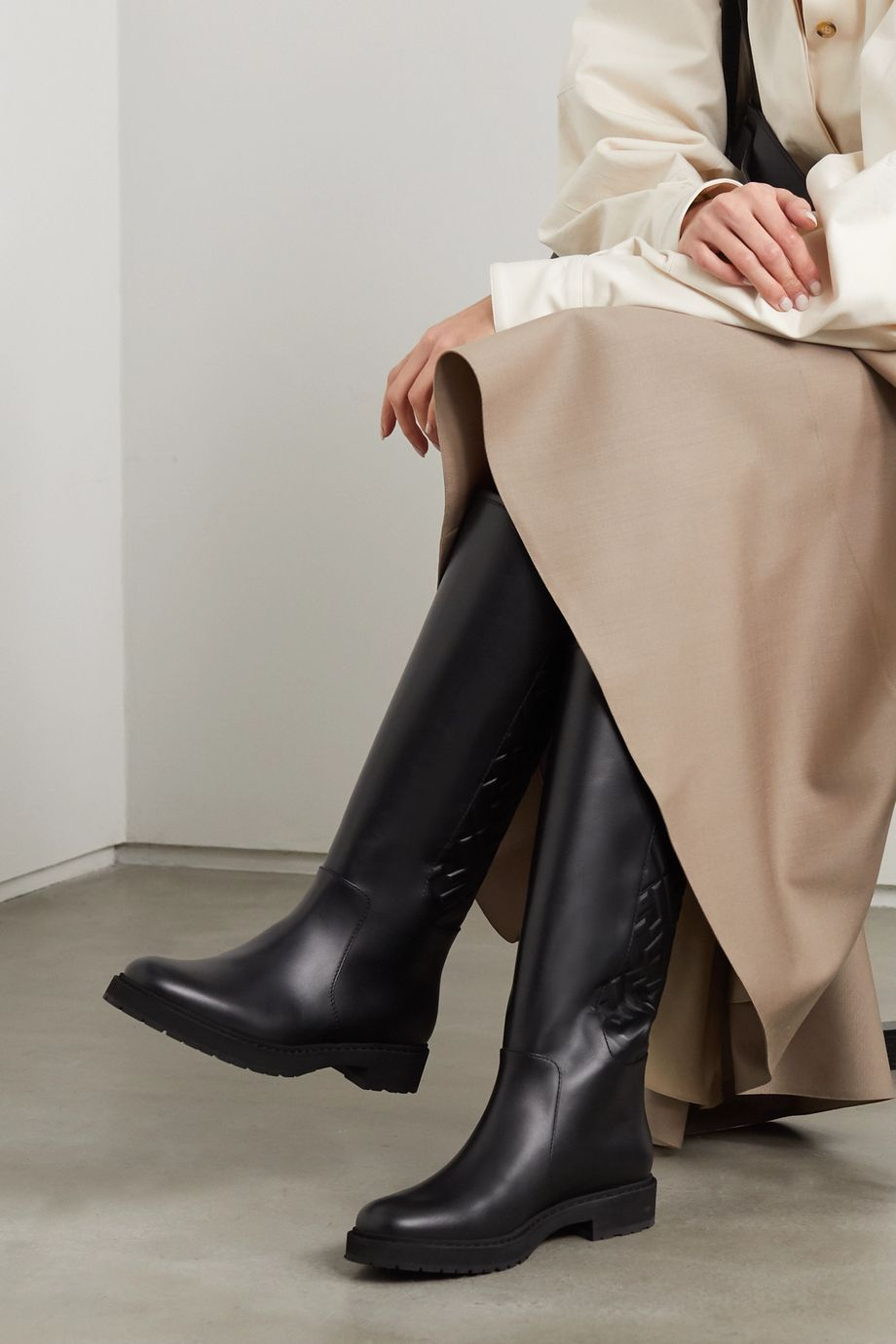Fendi Logo-embossed leather knee boots