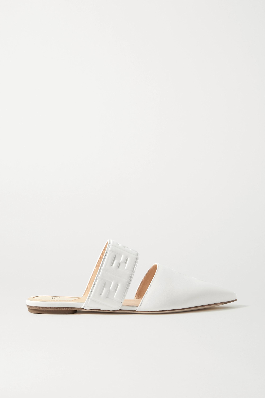 Fendi 品牌标志压花皮革拖鞋