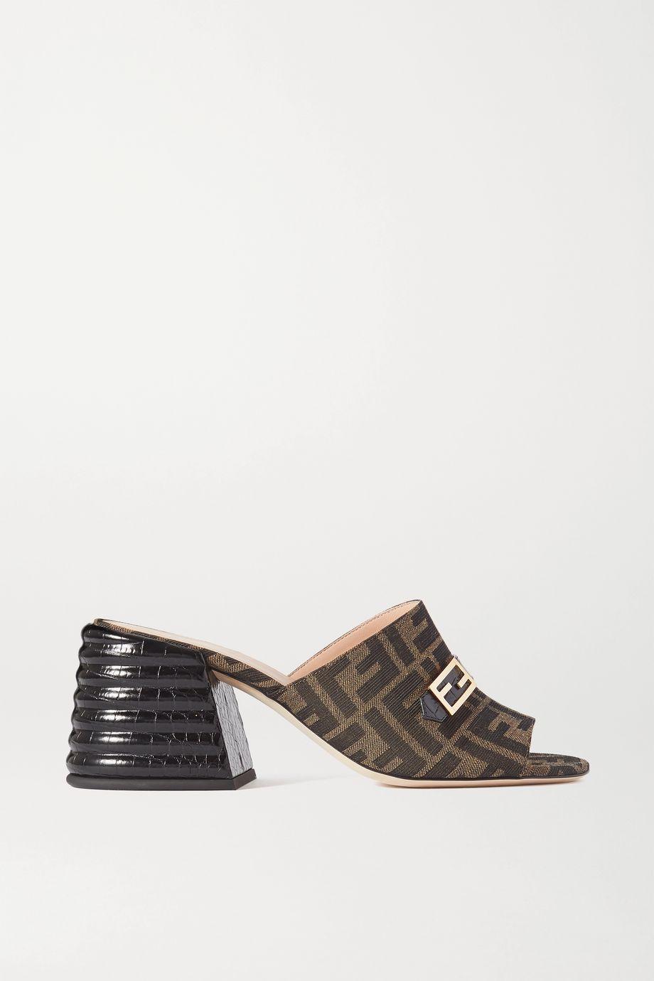 Fendi Promenade 仿鳄鱼纹皮革帆布穆勒鞋