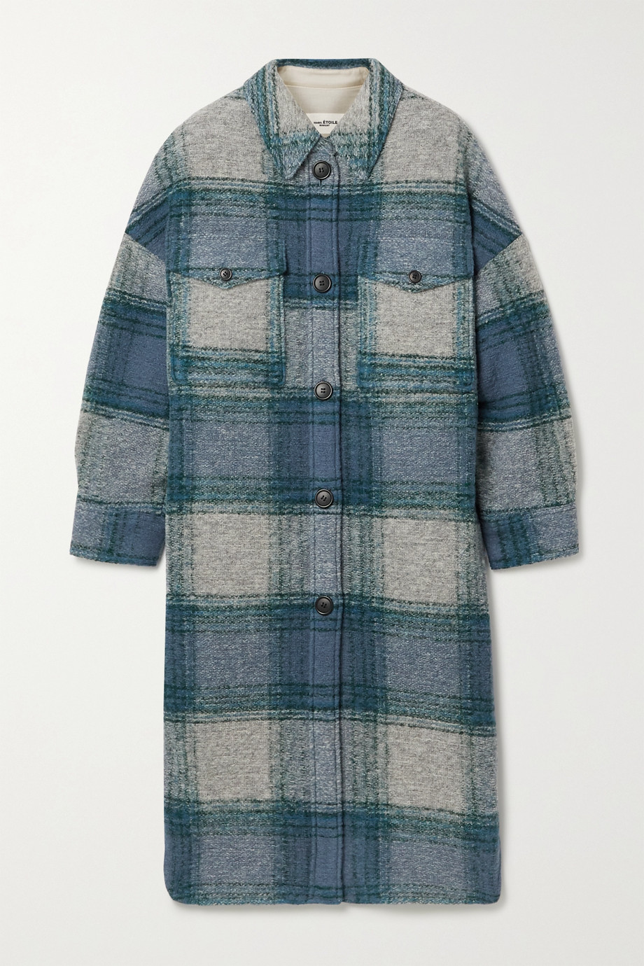 Isabel Marant Étoile Gabrion oversized checked brushed wool-blend felt coat